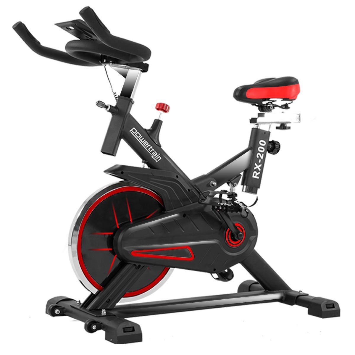 Powertrain Rx 200 Exercise Spin Bike Cardio Cycle Red Spin