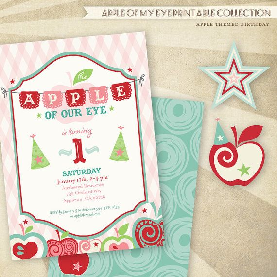 Apple Of Our Eye Birthday Printable Invitations 1st Party Themes Fun
