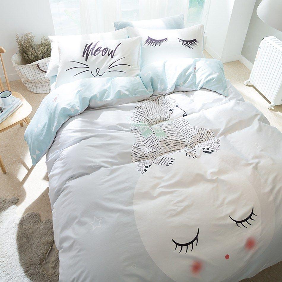 cartoon polar bear 100 cotton 4pcs bedding set queen twin size