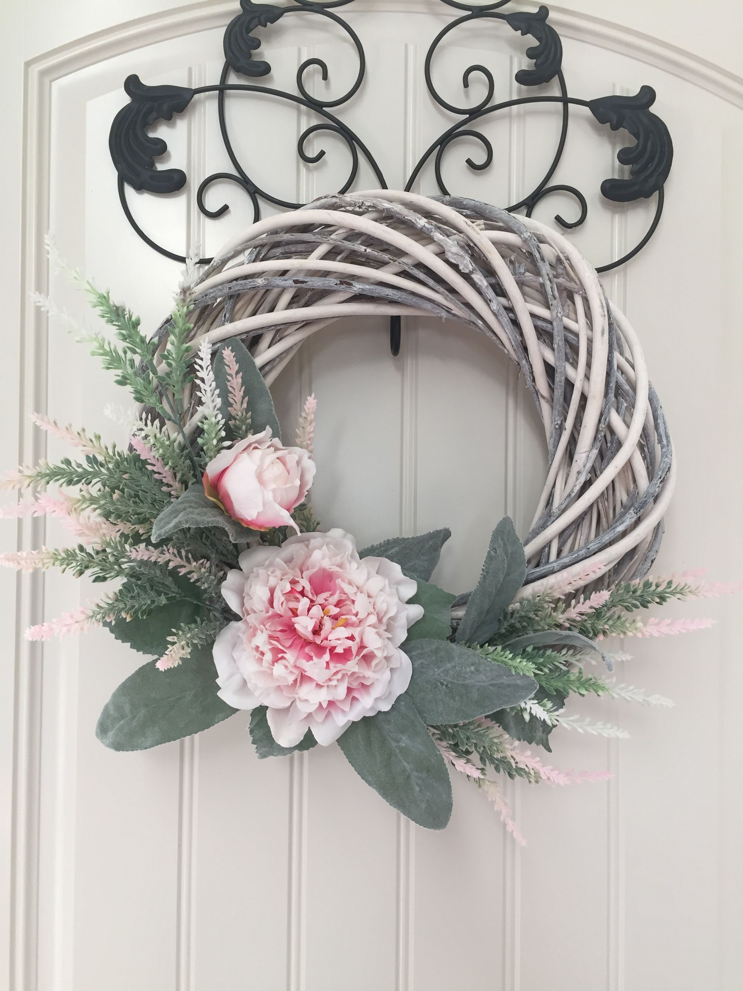 White Grapevine Wreath With Pink Peonies And Lambs Ear White Grapevine Wreath Grapevine Wreath Grape Vines