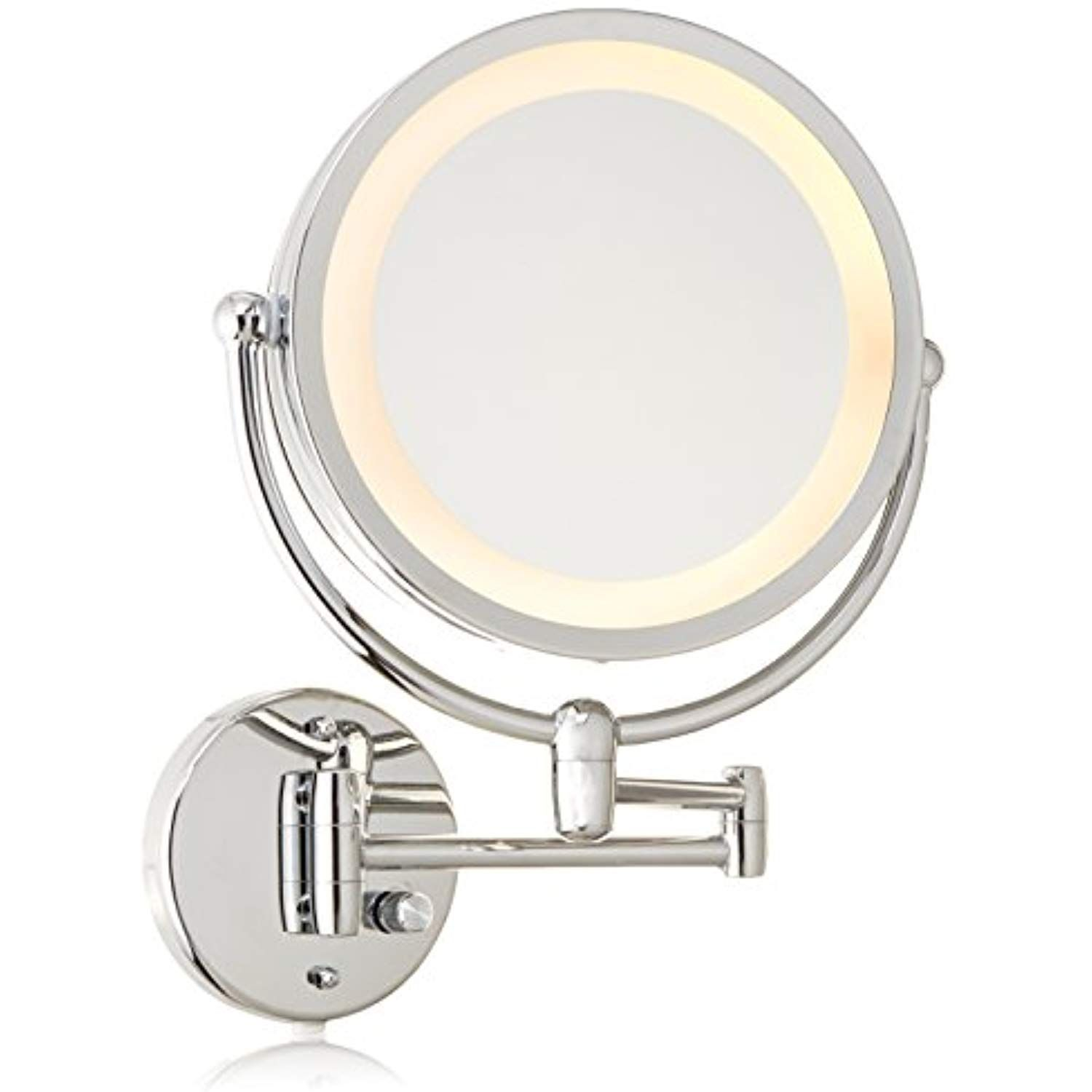 Danielle Creations Chrome Revolving Wall Mounted Lighted Mirror 10x Magnification Wall Mounted Makeup Mirror Mirror With Lights Makeup Mirror With Lights