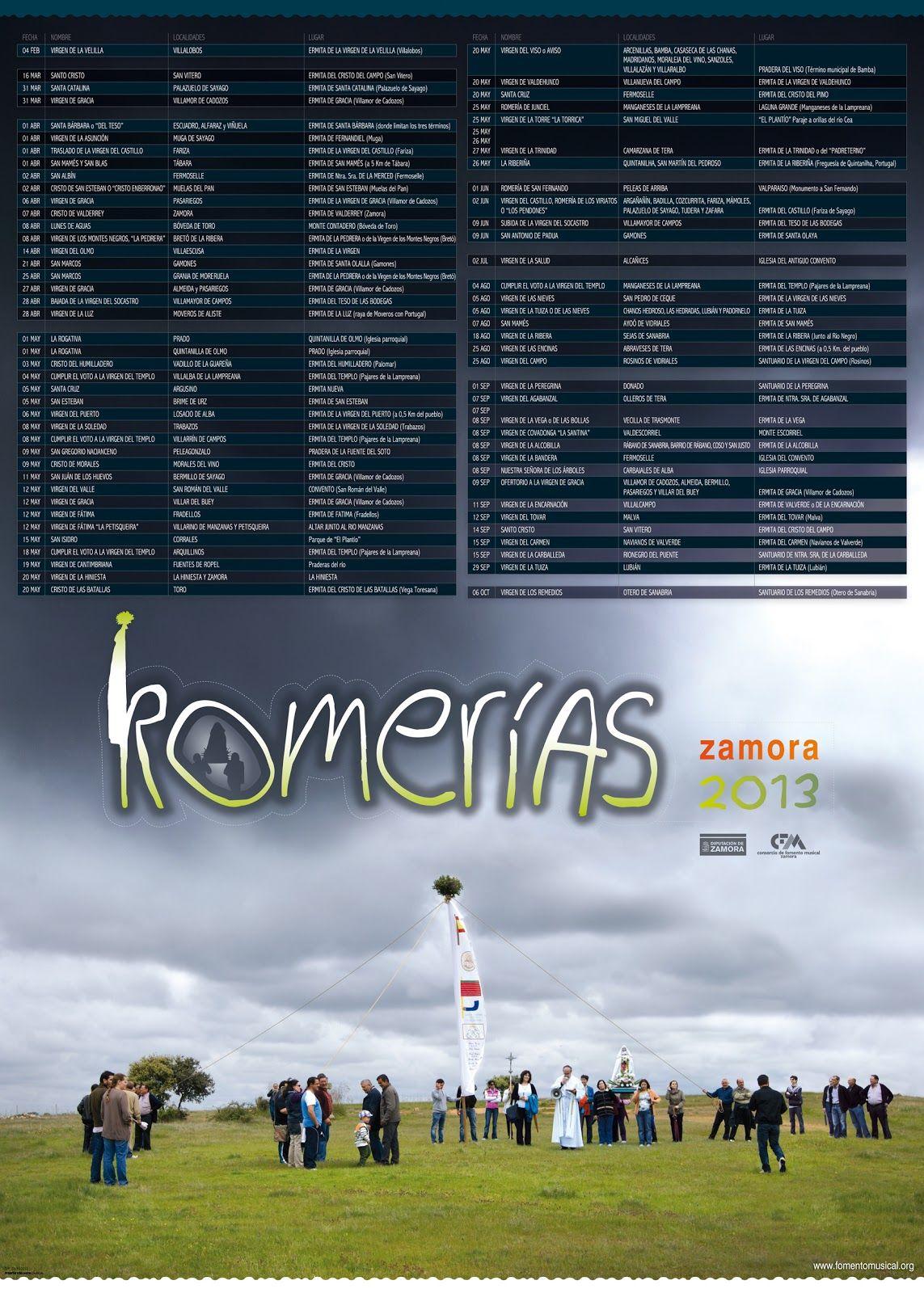 Calendario de Romerías 2013 Provincia de Zamora