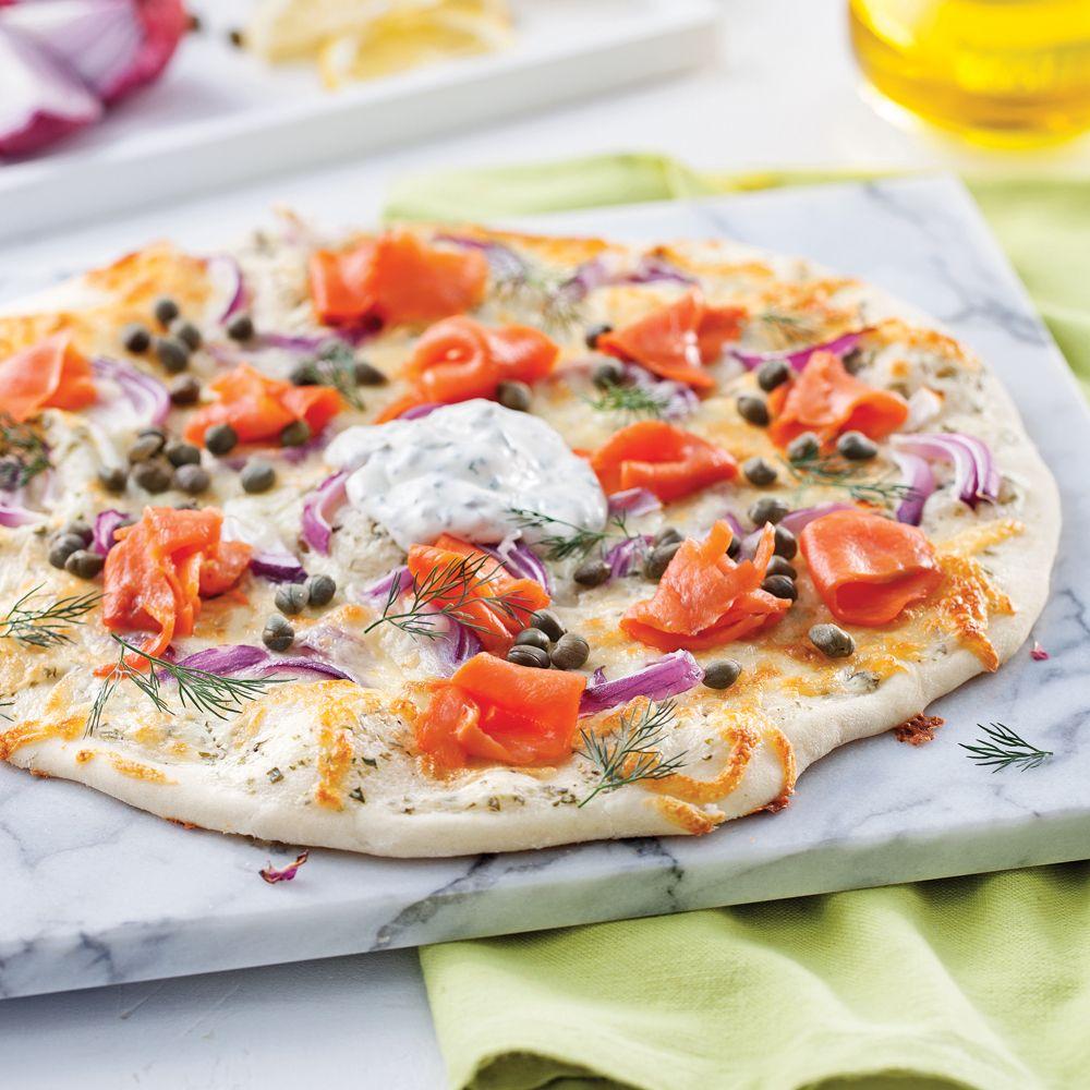 Pizza Au Saumon Fume Capres Et Creme Sure Parfumee Je Cuisine