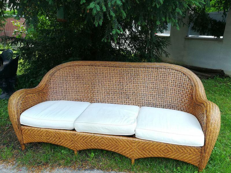 Canape En Rotin Et Osier Vintage Vintagestyle Armchair Sofa Rotin Osier Furniture Design 80s Love Beauty Canape Rotin Meuble Rotin Mobilier Jardin