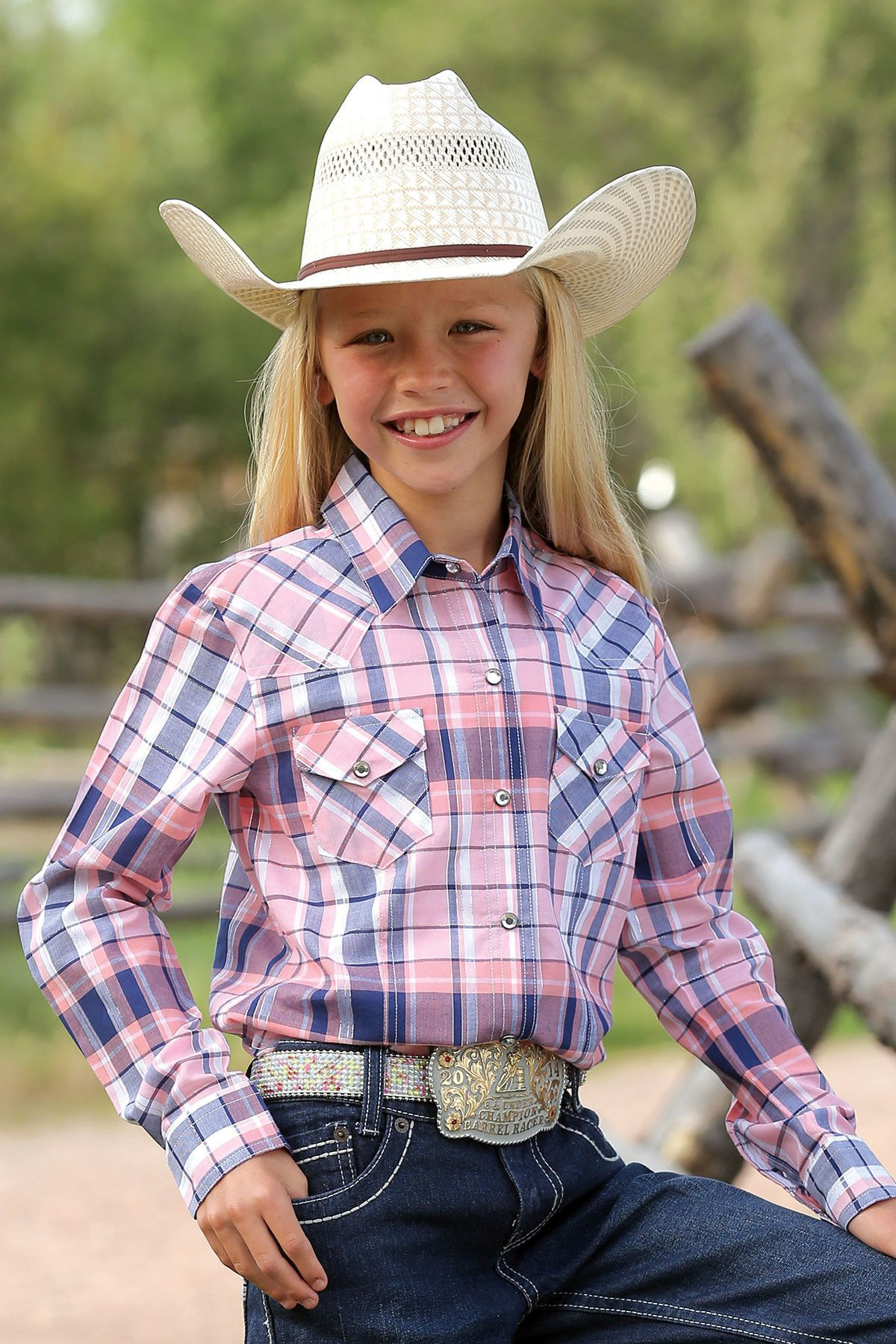 4d589a8a27 Cruel Girl Kids Long Sleeve Coral Plaid Snap Up Western Shirt Ctw3210005