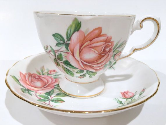Tuscan Tea Cup and Saucer Birthday Flowers June by AprilsLuxuries