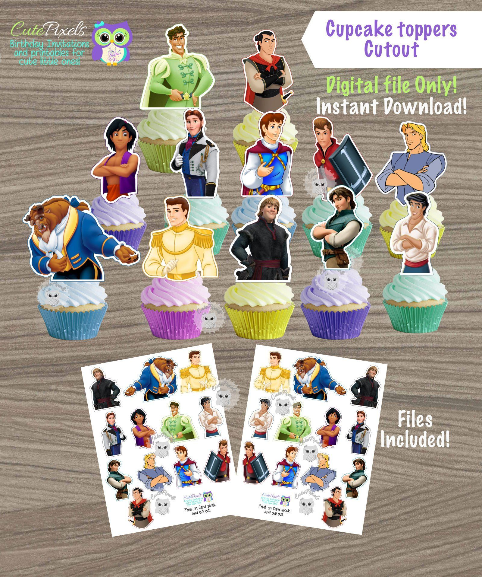 Disney Prince Cupcake Toppers Disney Boys Toppers Princess Decor