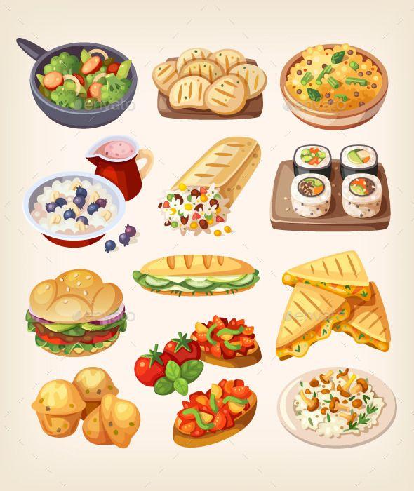 set of colorful vegetarian food