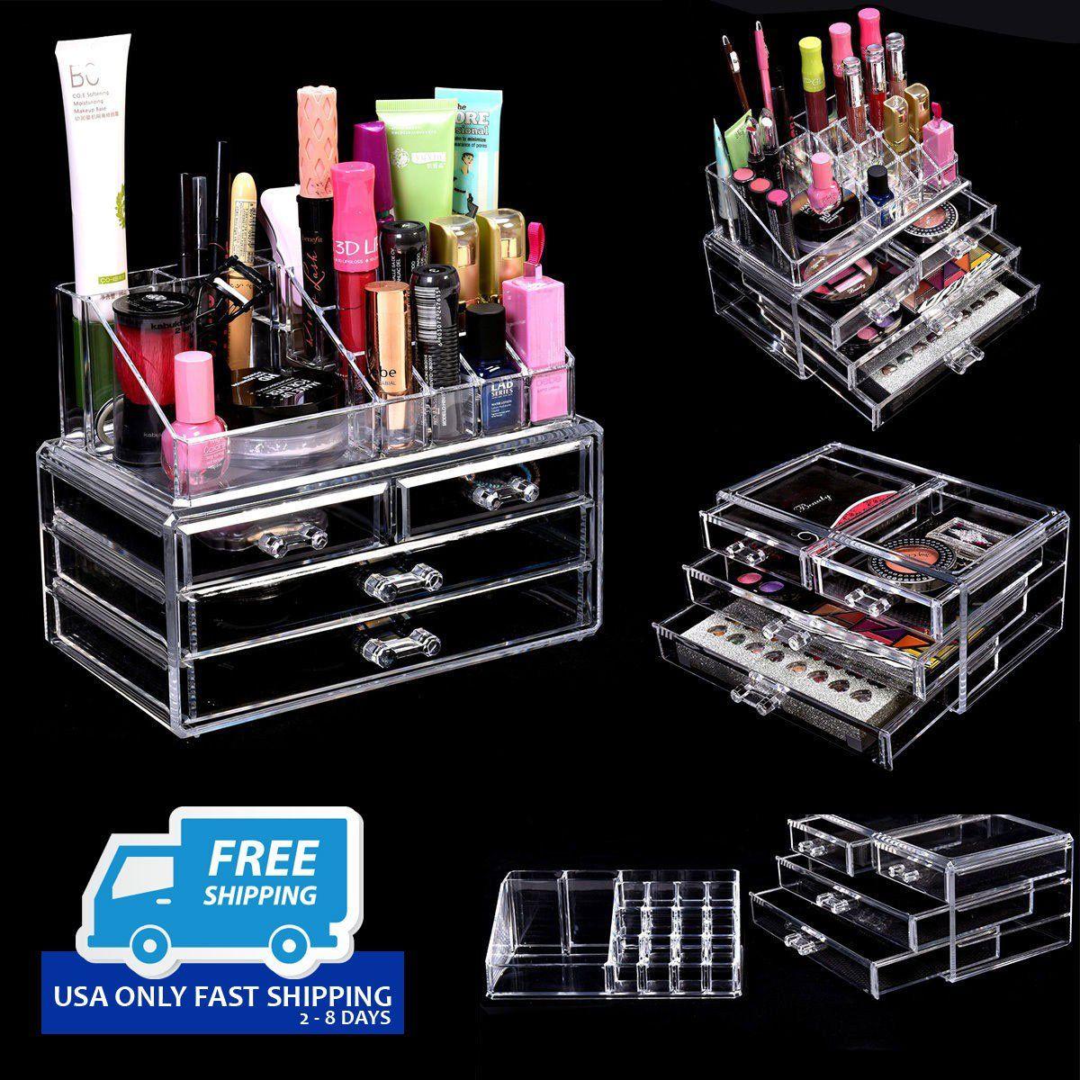 Acrylic Makeup Cosmetic Organizer 4 Drawers Jewelry Storage Display