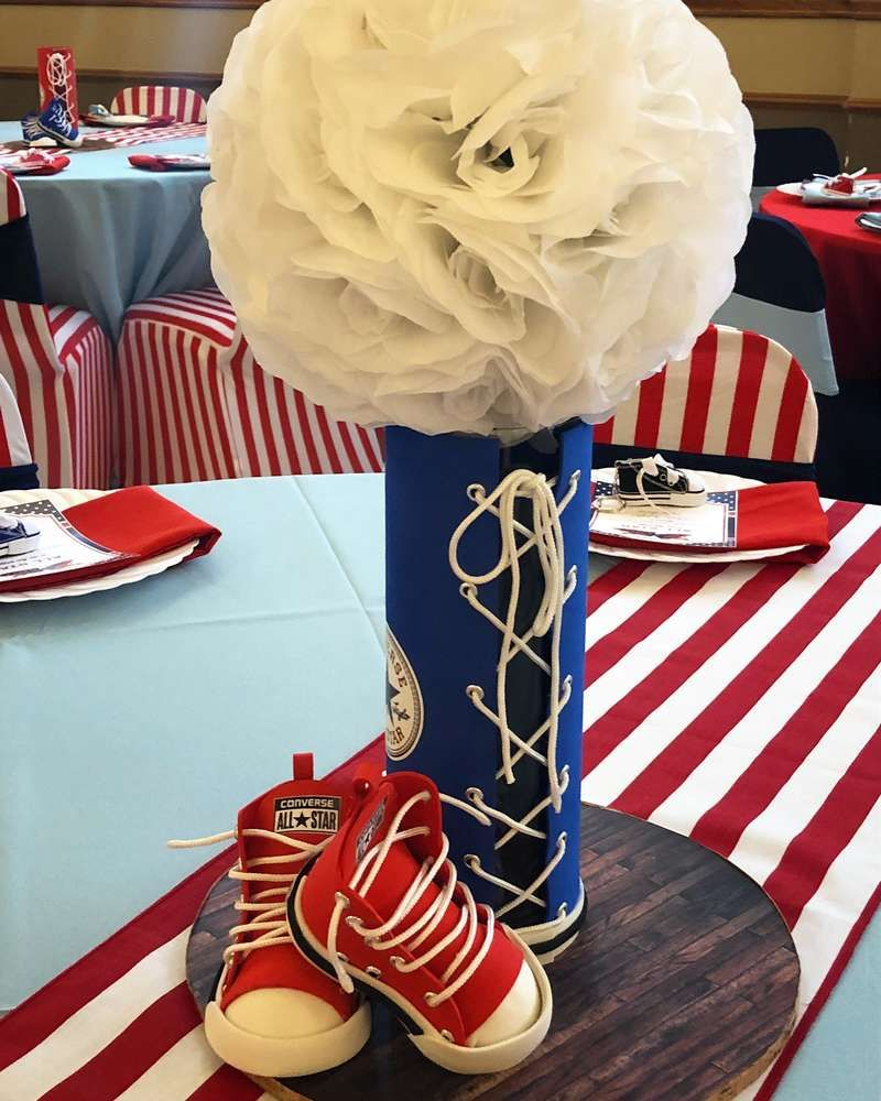 Loving the centerpiece at this Chuck Taylor s Converse All-Star Baby  Shower! See more party ideas and share yours at CatchMyparty.com   catchmyparty ... 64ff8cf51768