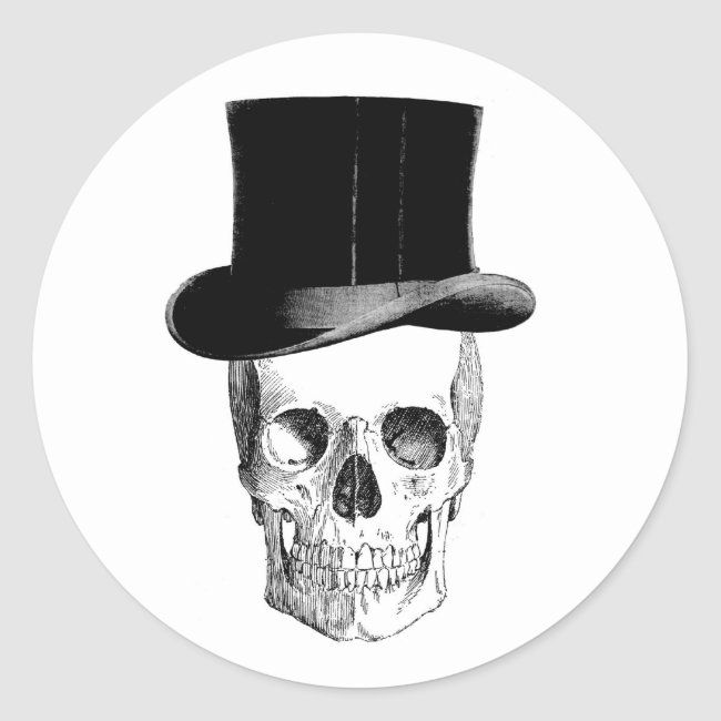 #affiliatelink #promo Skull with Tophat Sticker #halloween #party #printables #sticker #favor #halloweenfavors #halloweenparty #halloween #halloweenentertaining #zazzle