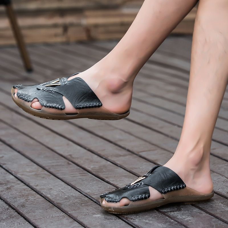 Cow Leather flip flops Men Slippers Sandals – Black, 13.5