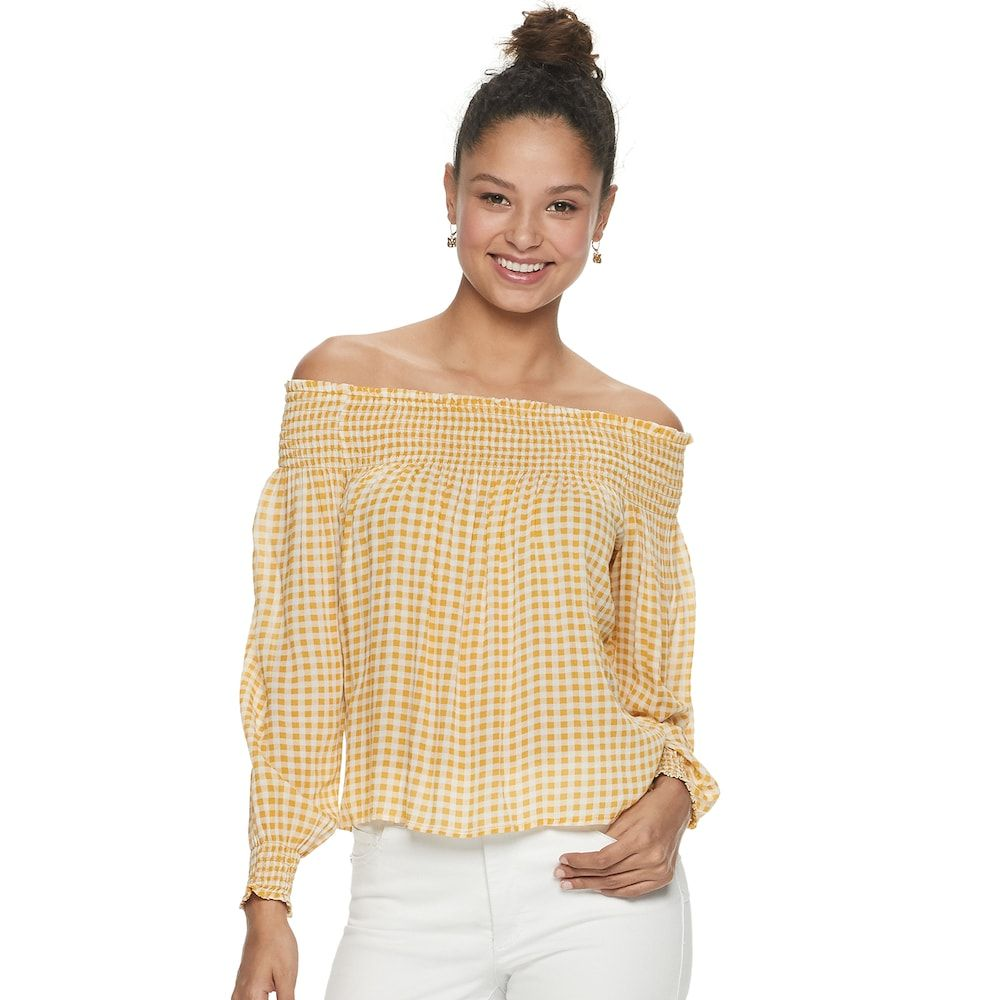 75bdc86fb77e Juniors' Rewind Smocked Yoke and Cuff Off the Shoulder Top, Girl's, Size: