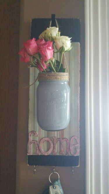 Nailed it! Flower vase/key holder mason jar decor   Nailed It ... on pinterest tin can vases, pinterest crafts vases, fall mason jar vases,
