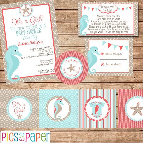 Beautiful Coral and Teal Baby Shower