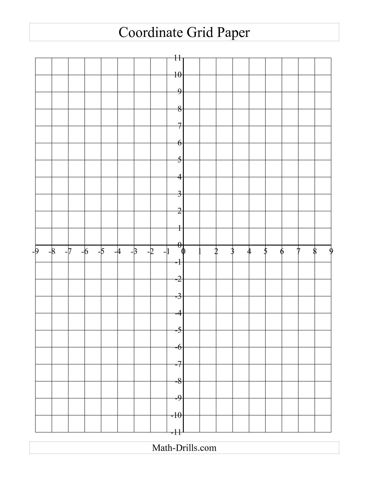 The Coordinate Grid Paper A Math Worksheet From The Graph Paper Page At Math Drills