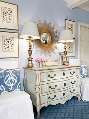 Love the French Provincial furniture with the blue