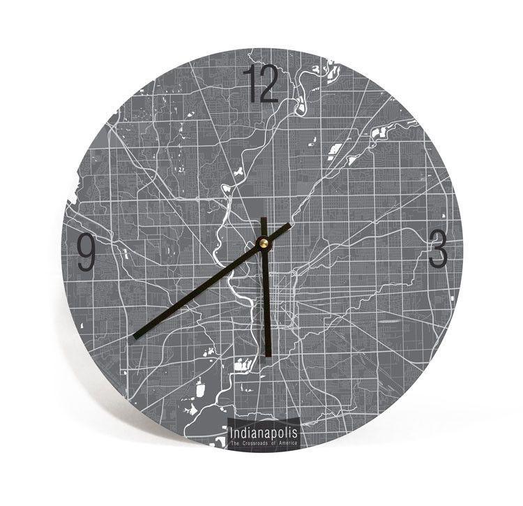 Indianapolis, Indiana, Map Art Wall Clock