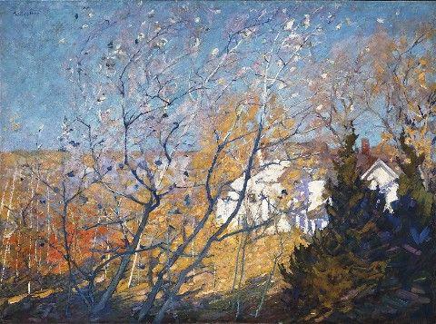 """Silver Poplars,"" Gertrude Fiske, oil on canvas, 36 x 48"", Mitchell Brown Fine Art."