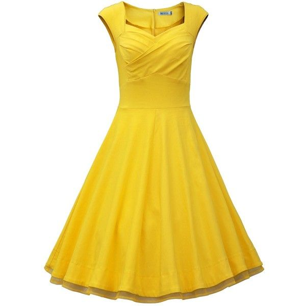 MUXXN Women 1950s Vintage Retro Capshoulder Party Swing Dress ($20) ❤ liked on Polyvore featuring dresses, vintage party dress, vintage cocktail dress, trapeze dress, yellow dress and night out dresses