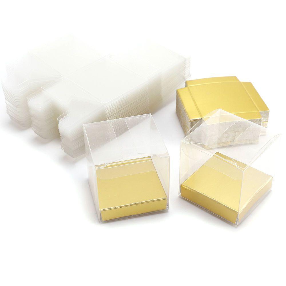 50pcs 5cm Luxury Clear PVC Plastic Cube Gift Packaging Box Wedding ...