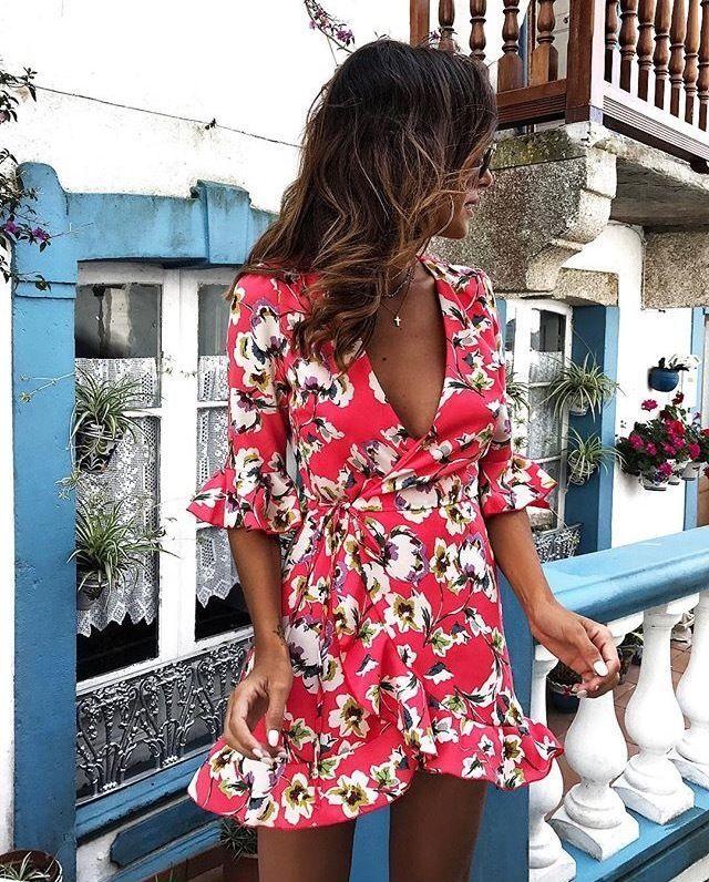 ca831e08ab3 Zara Intense Coral Floral Print Short Wrap Jumpsuit Dress Size XS