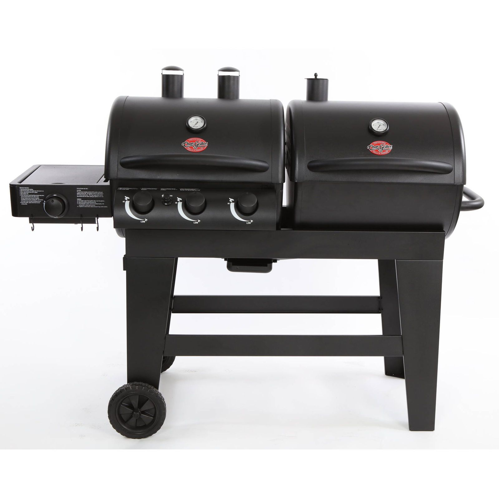 Gas Charcoal Grill Combo Propane 3-Burner Portable Set ...