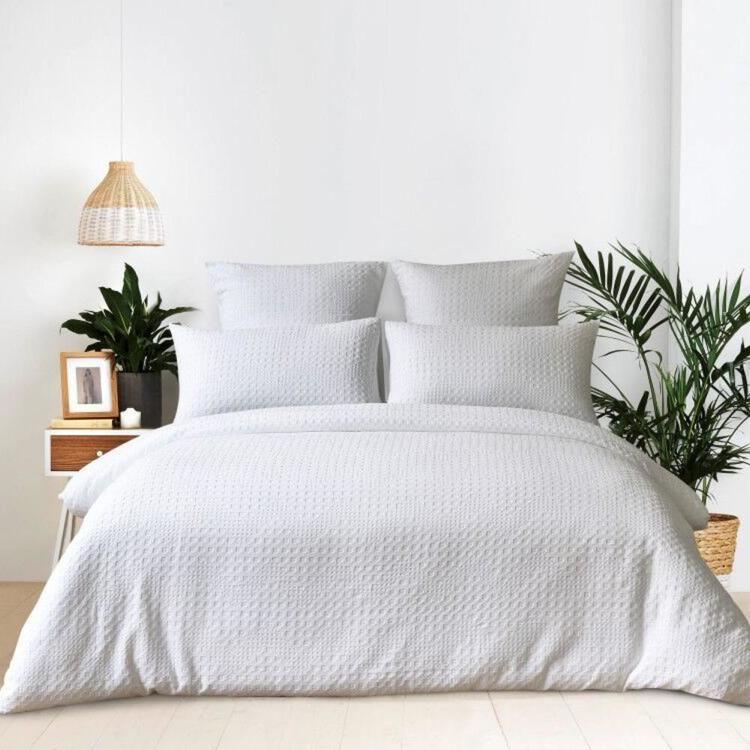 Koo Grace Waffle Quilt Cover Set White Single Waffle Quilt Quilt Cover Sets Chic Bedroom Design