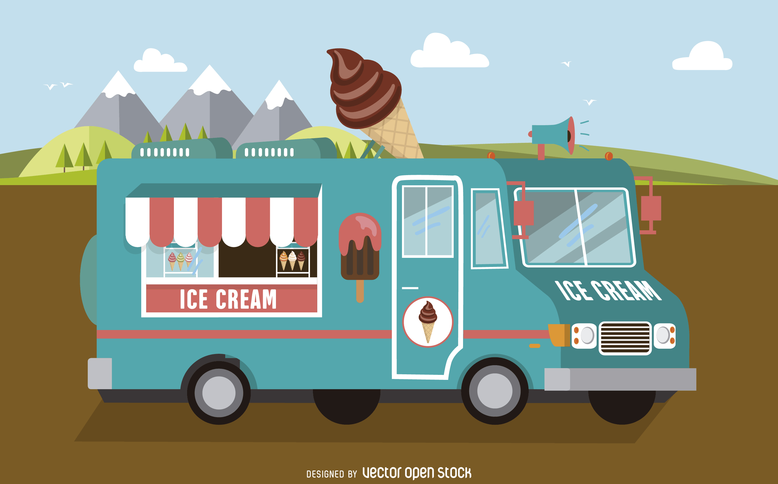 Light Blue Ice Cream Foodtruck Free Vector Graphisme