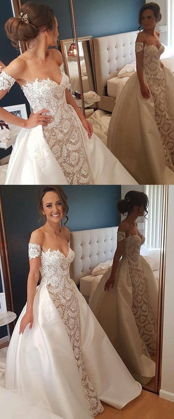 Sheath sweetheart short sleeves detachable lace wedding dress