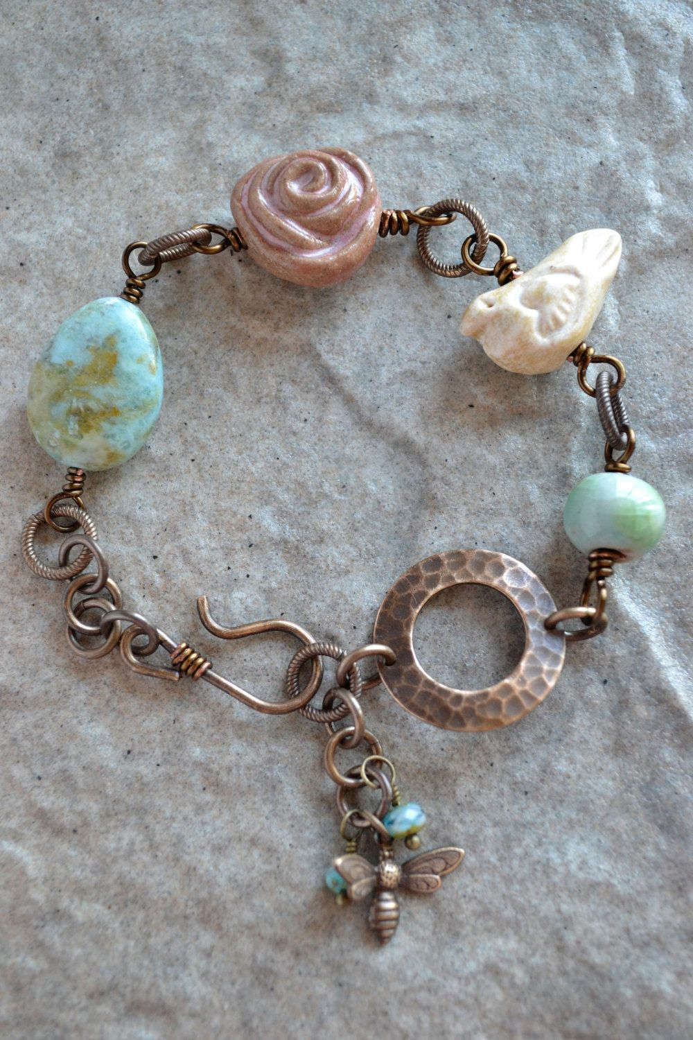 Robins Egg Ceramic Wire Wrapped Bracelet by TheJunquerie on Etsy ...