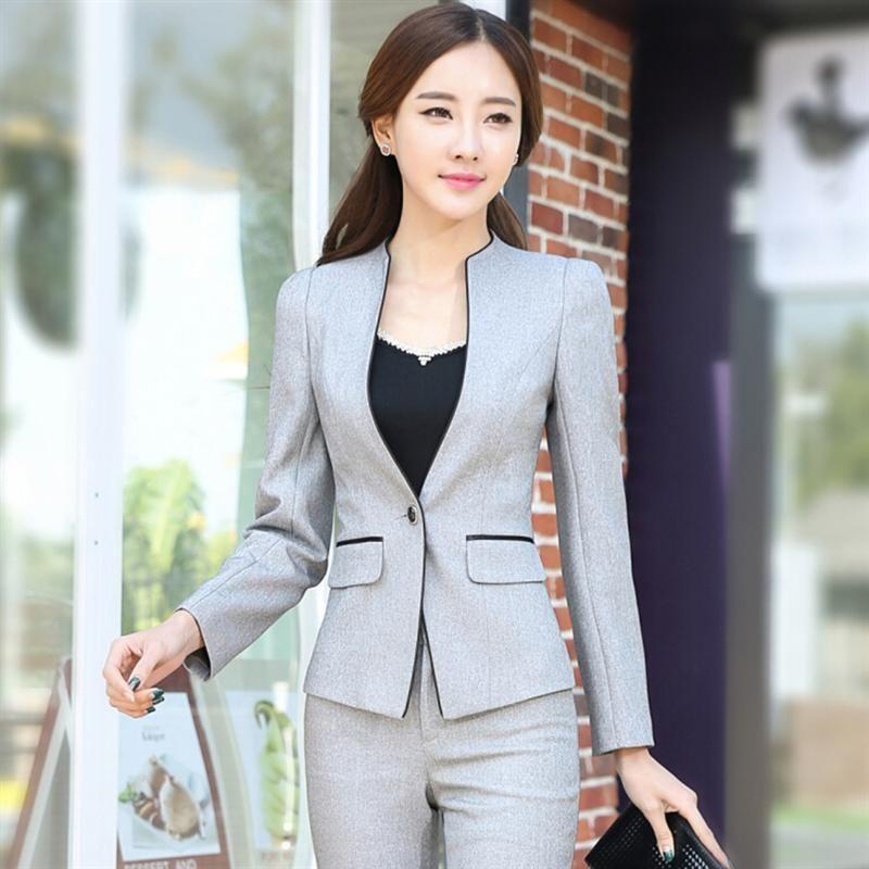 bddec0d762 Jaqueta de inverno desgaste do trabalho fino mulheres calças OL forma  formal conjunto de blazer com