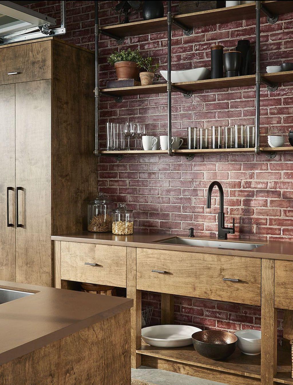 unique farmhouse living room brick wall decoration ideas