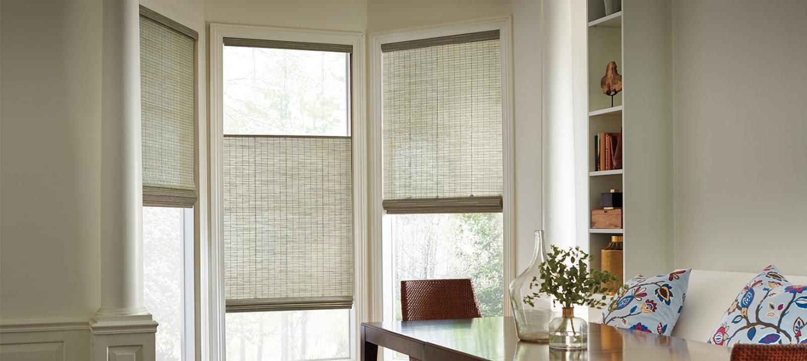 Pictures of woven shades bottom up