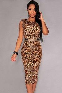 Rochii De Ocazie Ieftine Leopard Animal Print Rochie Midi Mulata