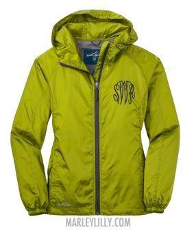 Good site for monogrammed items. Monogrammed Pear Green Eddie Bauer Rain Jacket