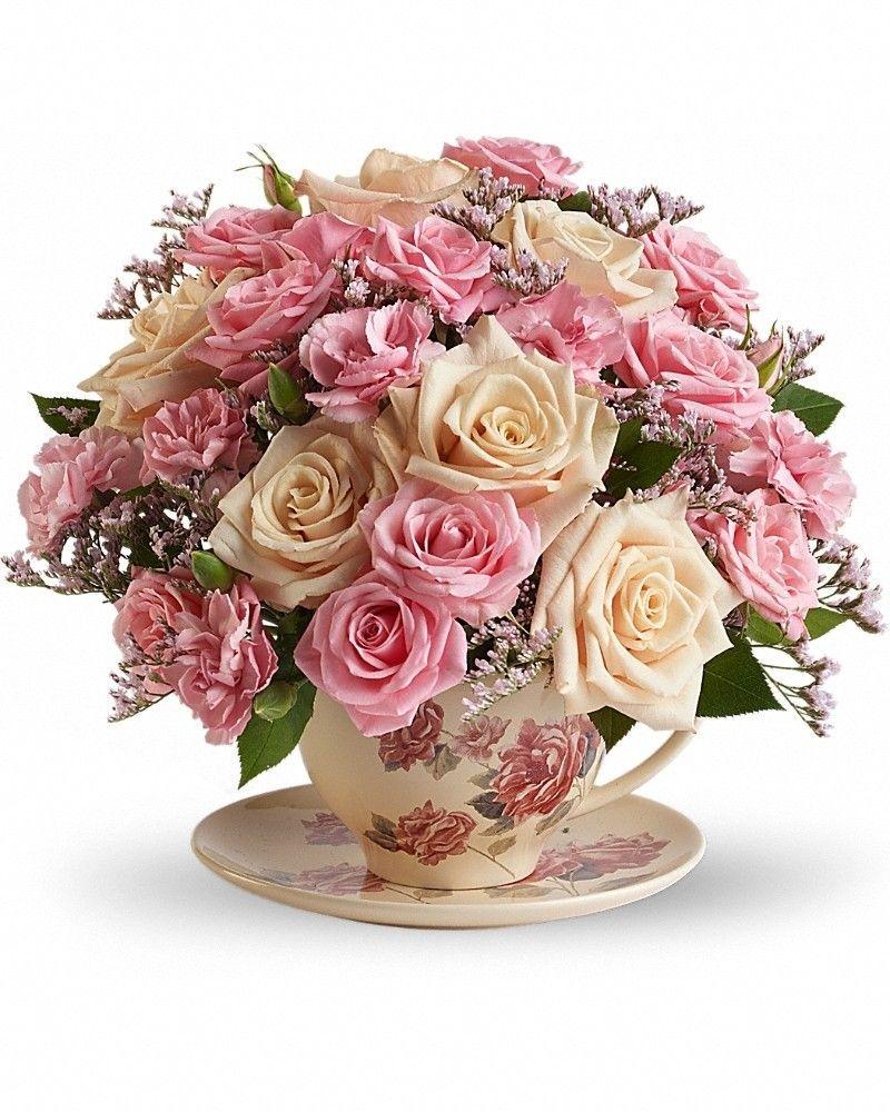 Victorian Teacup Bouquet Teacup flowers, Flower