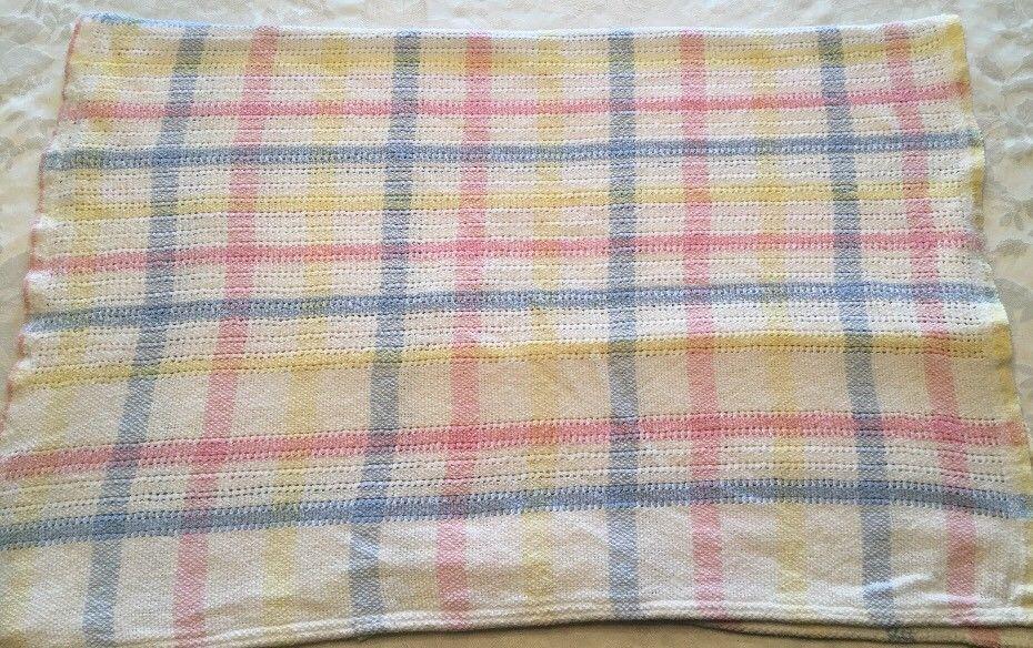 594e8267e98 Vintage Cotton Knit Pastel Plaid Baby Blanket Yellow White Pink Blue Green    eBay