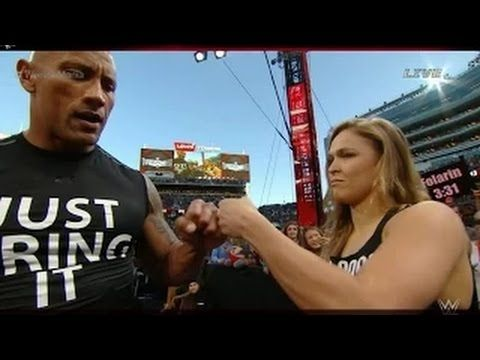 the rock and ronda rousey vs triple h and stephanie mcmahon wrestlema