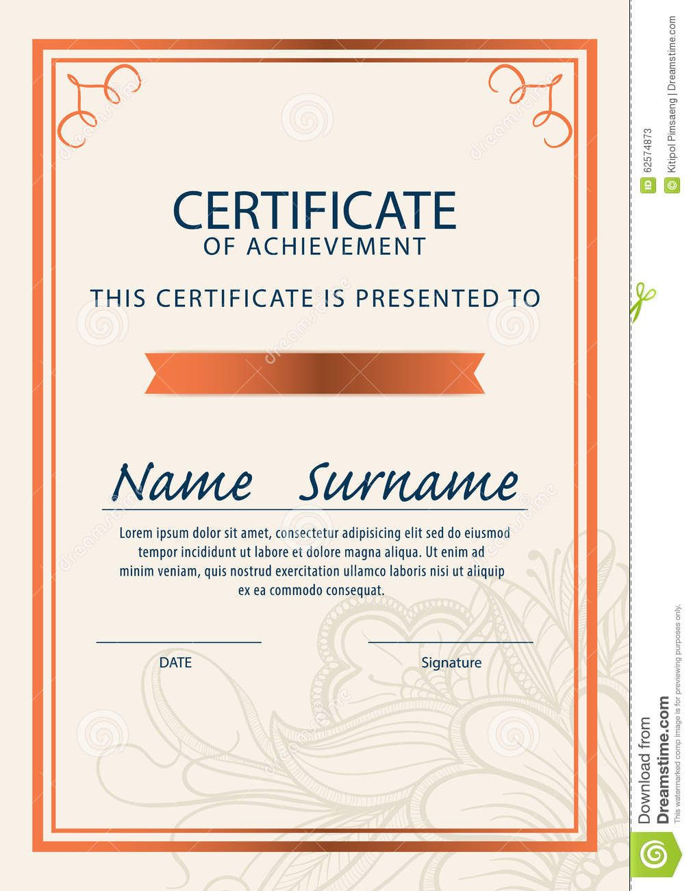 The Amusing Certificate Template Diploma A4 Size Vector