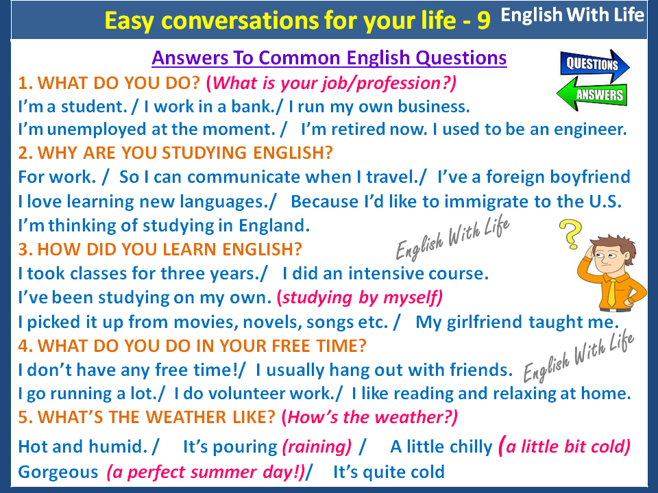 Easy conversations for your life 9 - Answers to Common