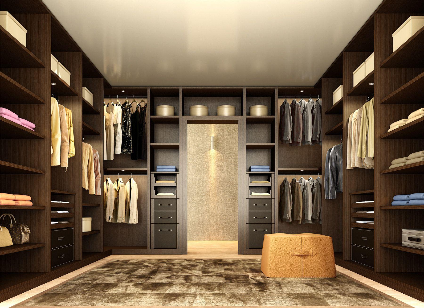 Ankleidezimmer Englisch ~ Walk in closet atlante in dark walnut with dark brown hard leather