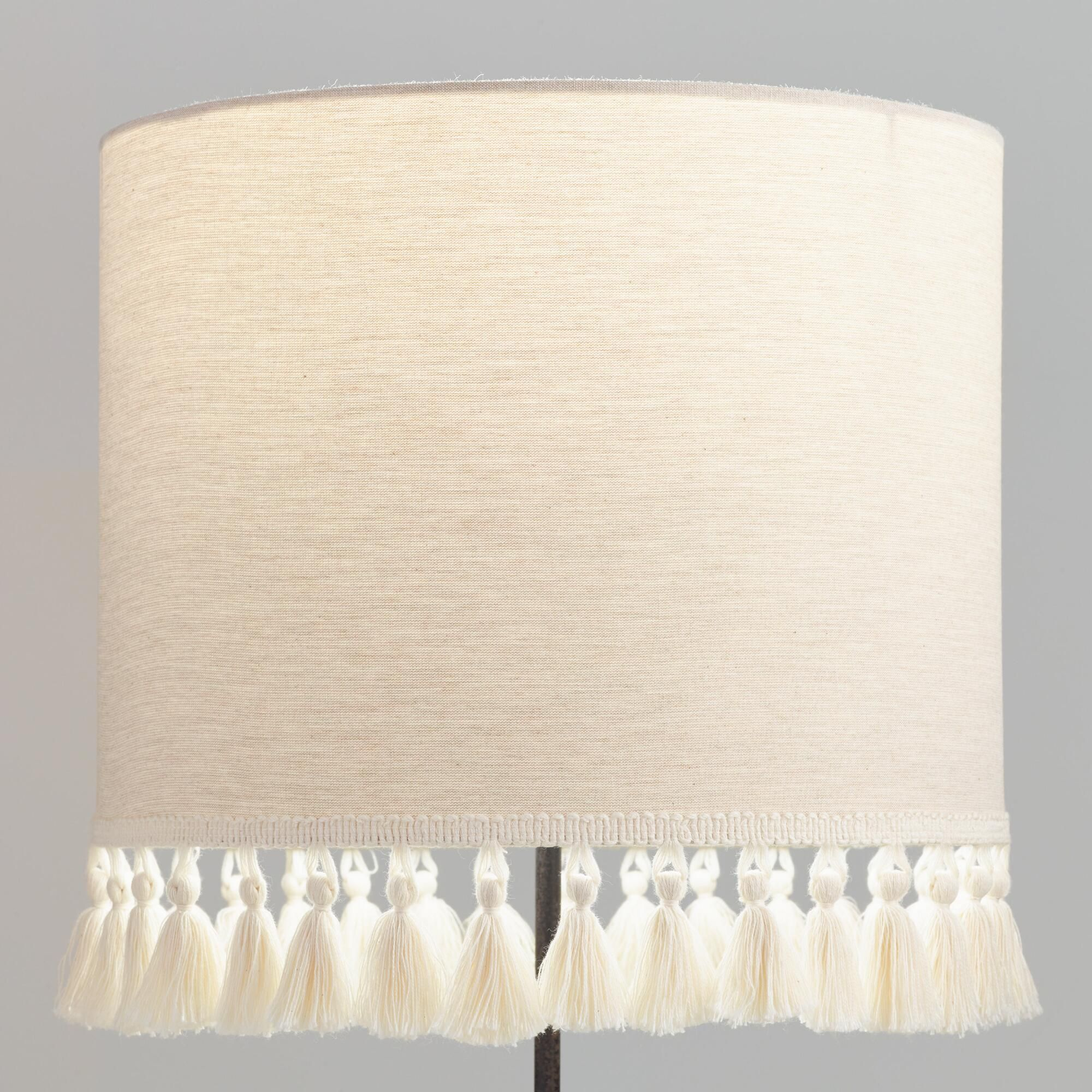 Natural Linen Drum Table Lamp Shade With Light Gray