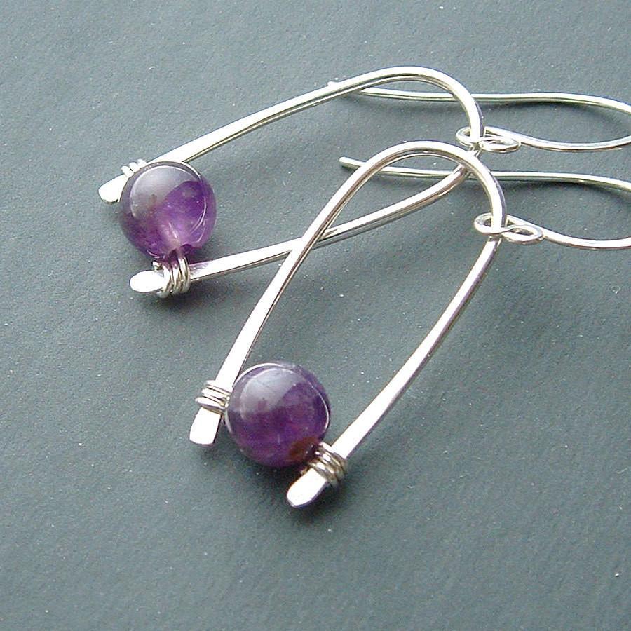 hammered copper earrings amethyst gemstone jewelry Amethyst hoop earrings february birthstone jewelry
