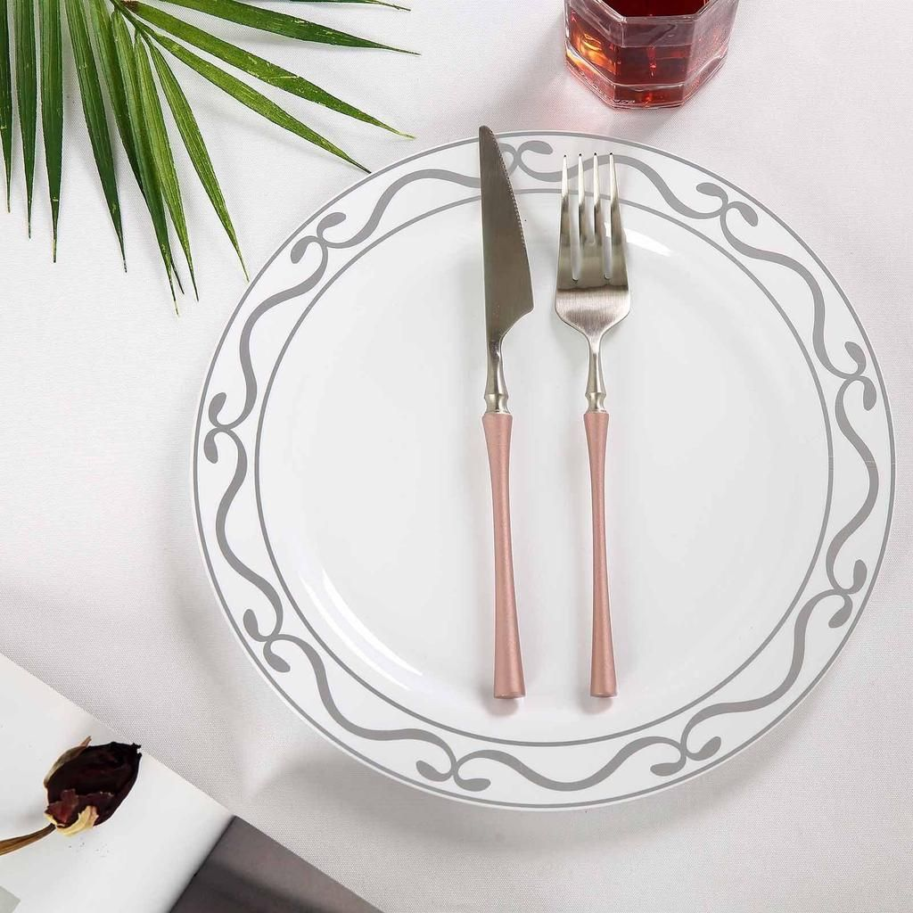10 Pack 10 White Round Plastic Disposable Dinner Plates With Silver Scalloped Design Hot Stamped Rim Disposable Plates Dinner Plates Plastic Party Plates