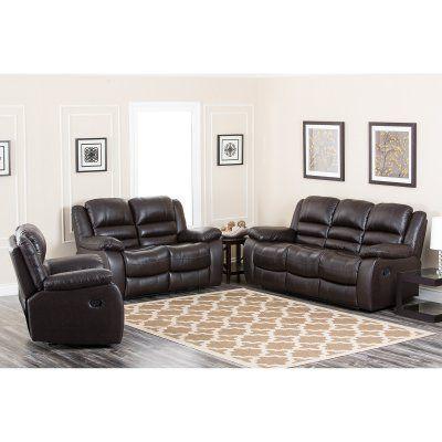 Abbyson Anderson Leather Reclining Sofa Set Ch 8801 Brn 3 2 1 Durable