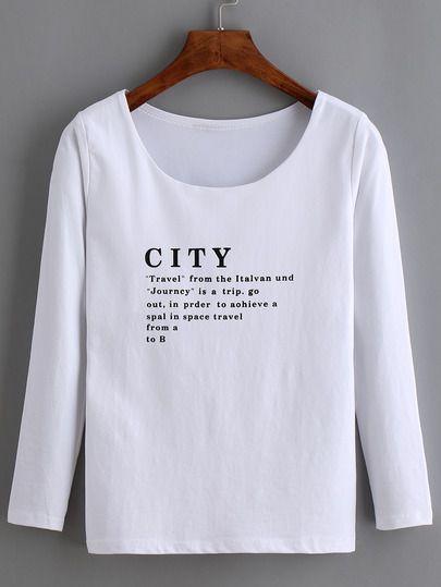 T-Shirt manches longues lettre imprimé amincissant - blanc