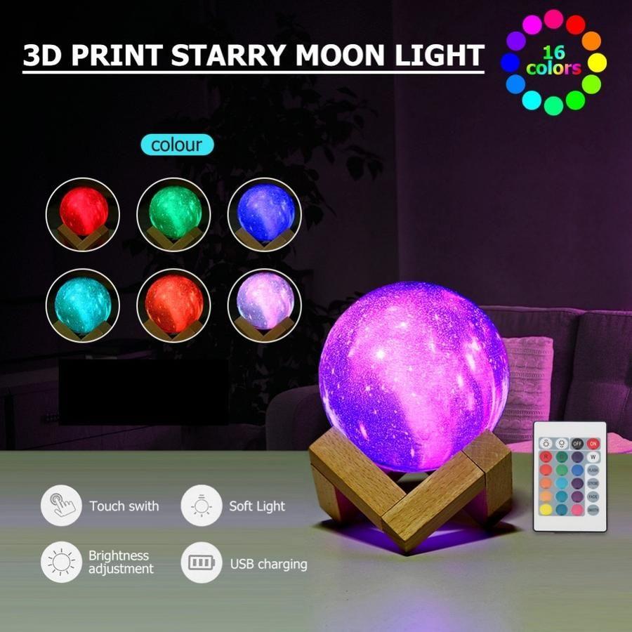 3d Star Moon Lamp Colorful Galaxy Lewe Decor Galaxy Print 3d Star Night Light