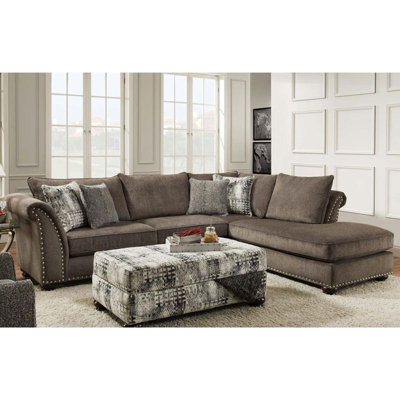 Albany Cornell Pewter Chenille Sectional With Nailhead Trim | Weekends Only  Furniture And Mattress