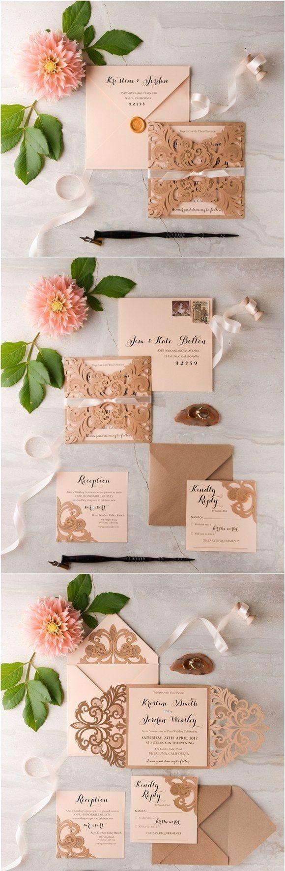 Rustic peach laser cut wedding invitations #rusticwedding ...